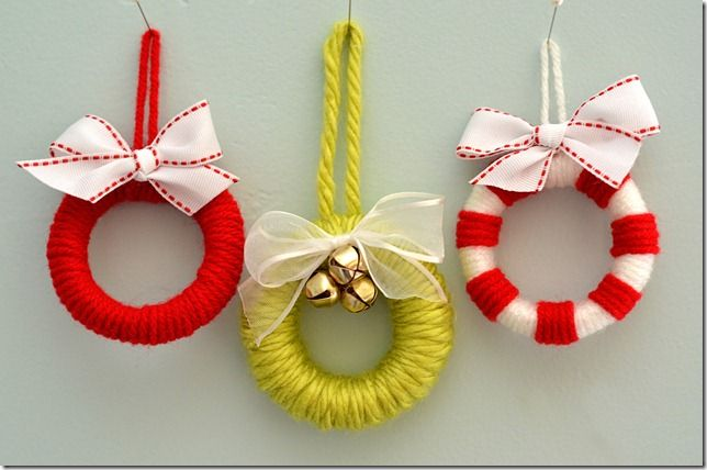 shower curtain ring * mini wreath or ornament ~~ so cute on packages.