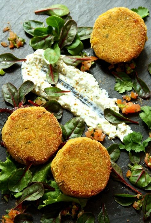 Butternut Squash and Chickpea Cakes with salsa, raita and red onion maramalade