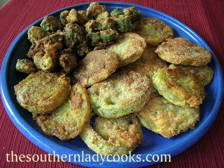 Fried green tomatoes and okra | Food & Drink that I love | Pinterest
