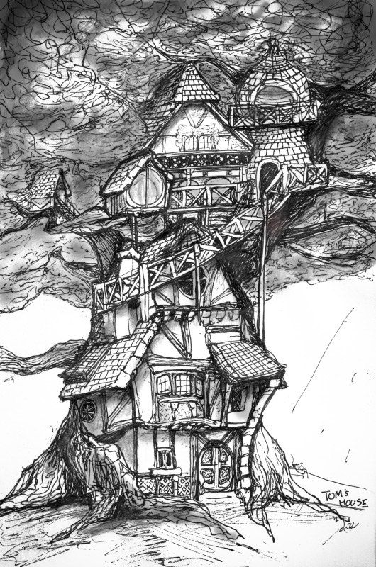 Tom 39 S House Concept Sketch 8in X 11in Art Print