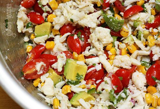 ... crab salad in avocado halves charred and herbed corn salad with crab