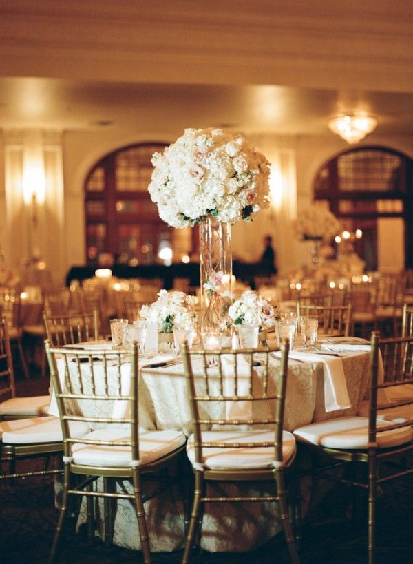 Tall hydrangea and rose reception table centerpiece for Tall wedding table centerpieces