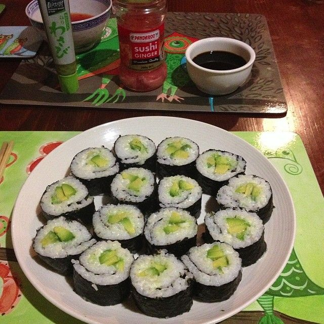 ... avocado amp vegan mayo sushi with wasabi pickled ginger amp soy sauce