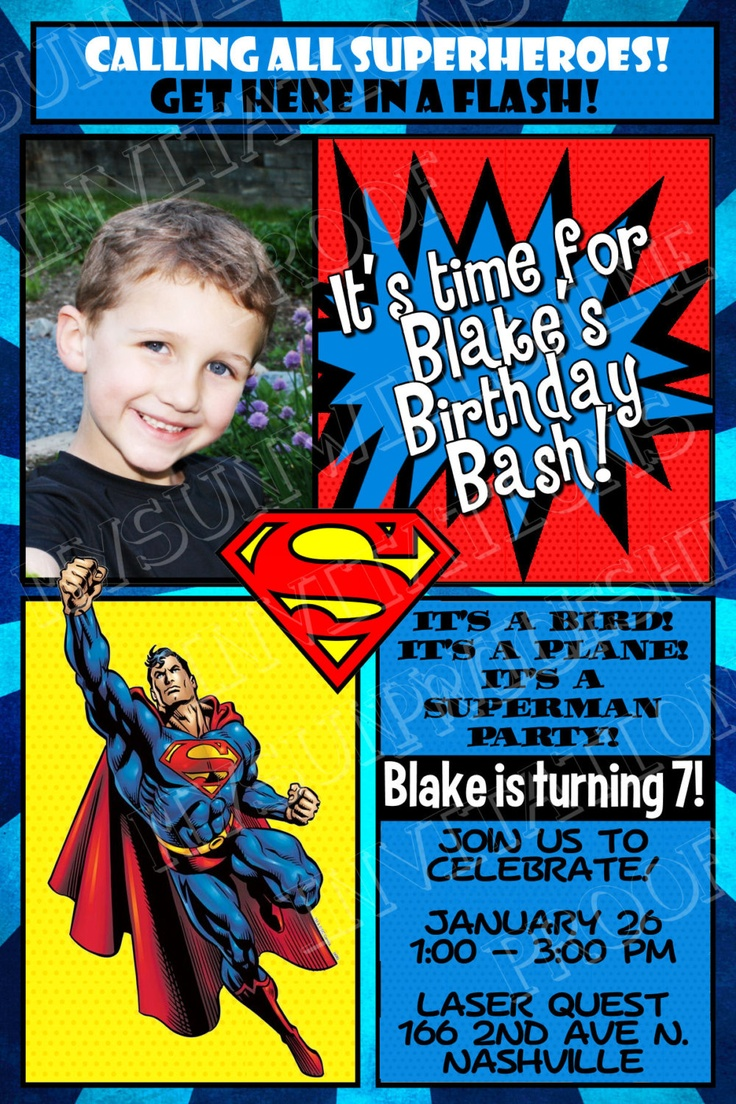 Superheroes Birthday Invitation Batman Invitation Captain America Invitation Superman Invitation ...