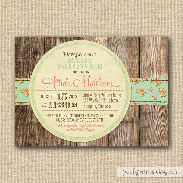 shabby chic baby shower invitations mixed type printable invitations