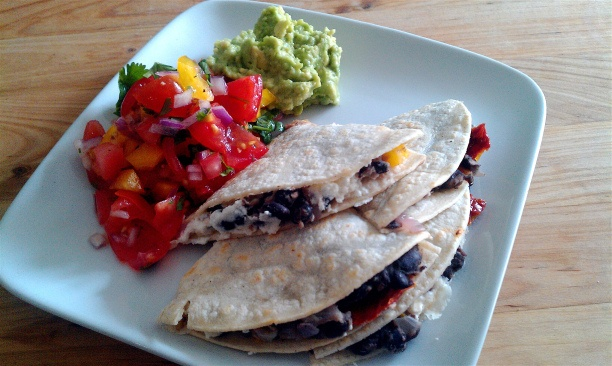 Black bean quesadillas with sundried tomatoes and goat's cheese ...