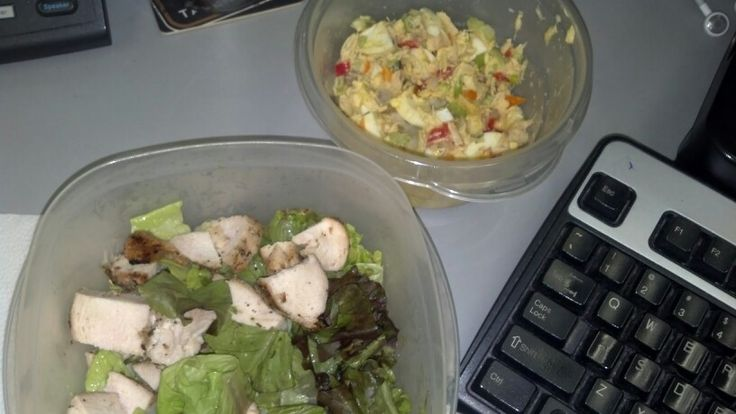Day 5 lunch: leftover tuna salad & chix salad