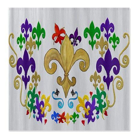 Fleur de lis party shower curtain on
