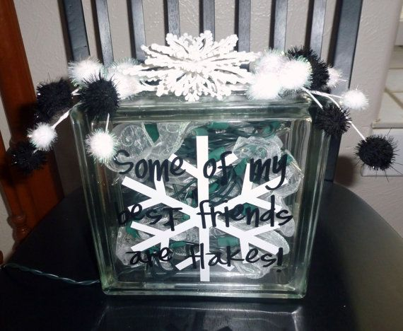 Christmas glass block decoration - Glass block decoration ideas ...