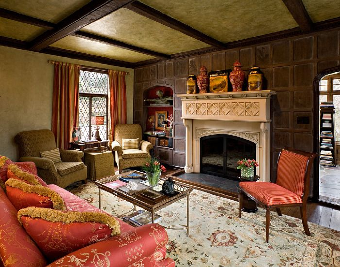 Tudor living room fireplace pinterest for Tudor style fireplace