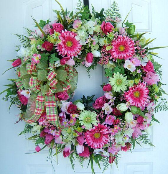 Large Beautiful Spring Wreath Door Wreath 28 Around
