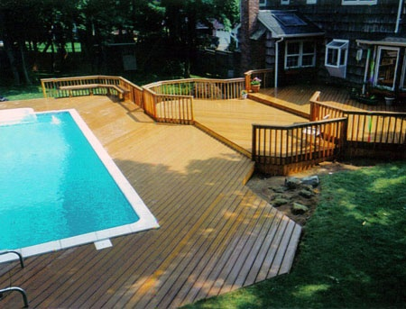 Very cool wood deck awesome inground pool designs for Pool wood deck ideas