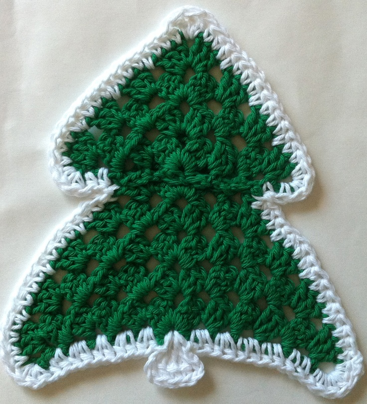 Christmas tree crochet dishcloth free crochet pattern