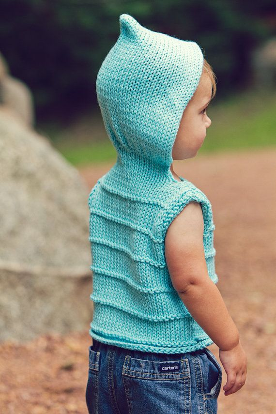 Knitting Pattern Hooded Vest : KNITTING PATTERN PDF file for Childs Hooded Vest for Boys ...