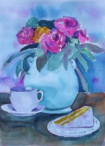 TEA FOR ONE, watercolor by Bonnie Buchanan Kingry