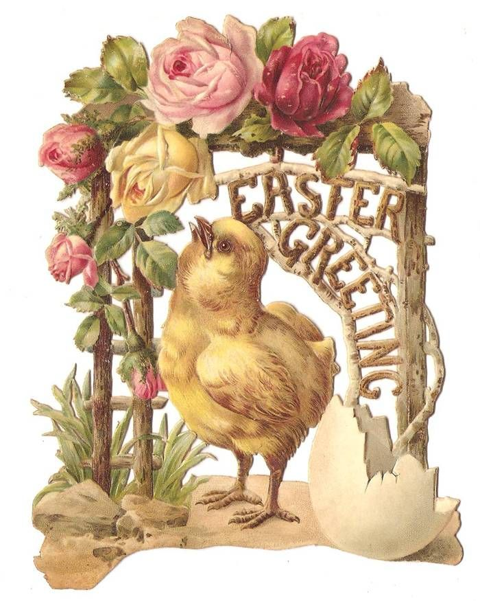 Victorian Die Cut Easter Chick Rose Egg Greeting Card