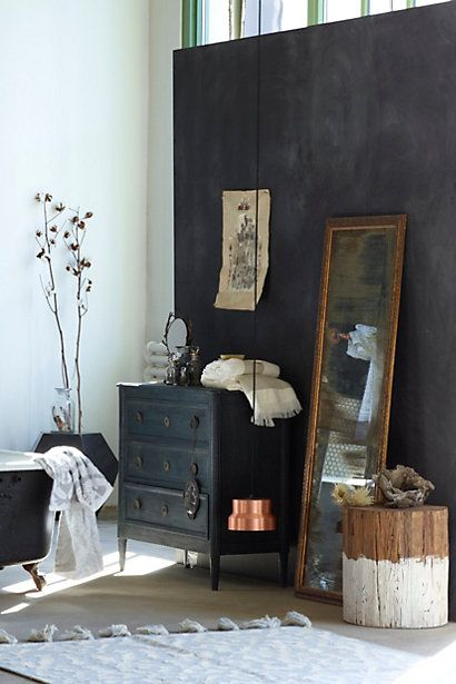 darks and neutrals and a beautiful color palette. washed wood dresser. #anthrofave
