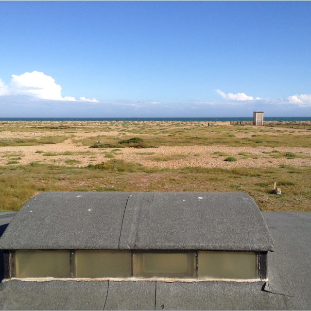 Sitting on our roof at Dungeness
