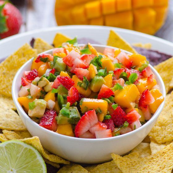 "Strawberry Mango Salsa | ""Serve with grain-free chips! See the board ..."