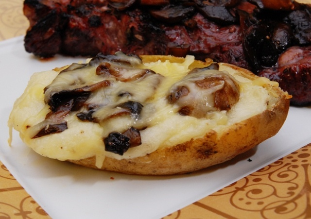 Twice-baked Potatoes with White Cheddar and Mushrooms