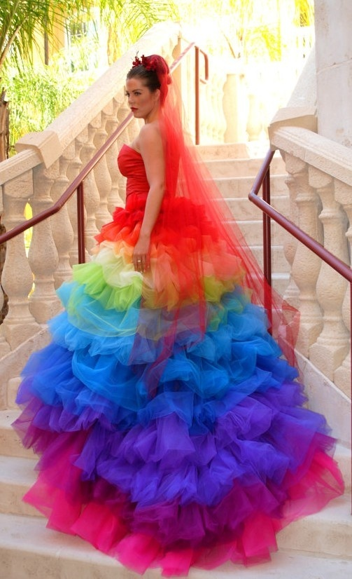 Rainbow Wedding Dress | Rainbow wedding | Pinterest