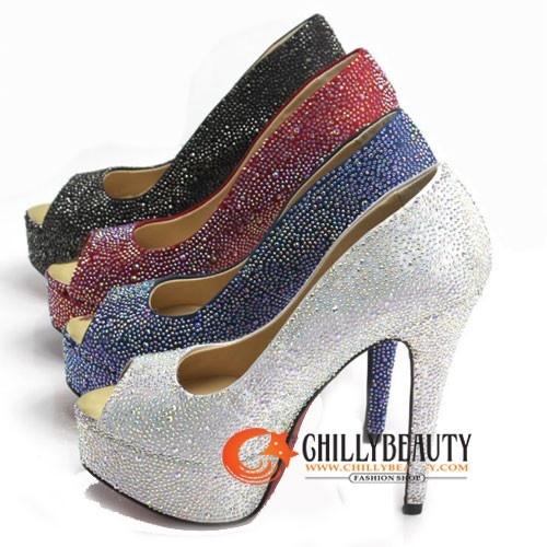 Gems Party Queen Platform PEEPTOE High Heel Silver - Heels - SHOES