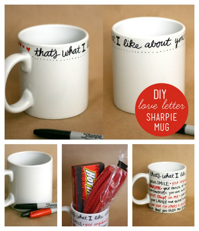 Good idea for valentine day!!  love letter sharpie mug