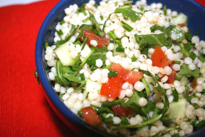 arugula cucumber chive cous cous pilaf with lemon dill dressing