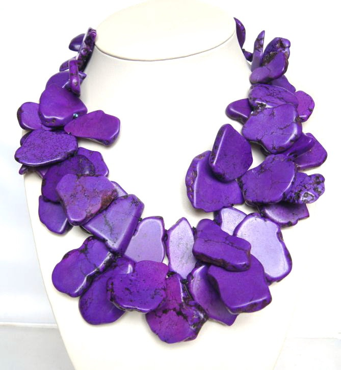 ,Beaded Jewelry,Mothers Jewelry With Huge Purple Turquoise. $39.00, via Etsy.