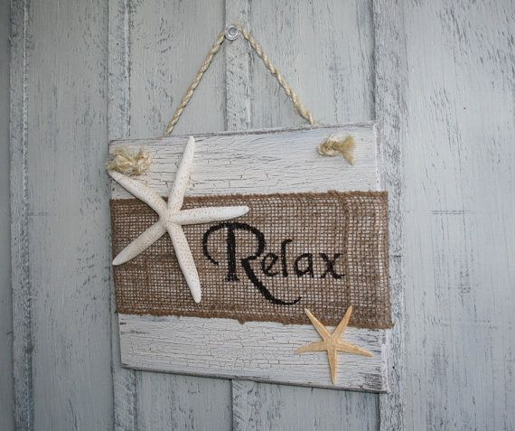 Relax Beach Burlap Sign With Starfish Tropical Decor