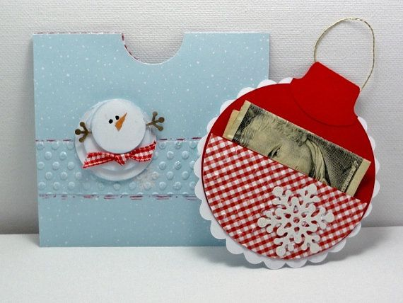Christmas card oranment money holder by cdesignsbycecelia on Etsy