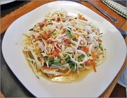 Thai Salad: shredded cabbage, lime juice, sugar, peanuts, scallions ...