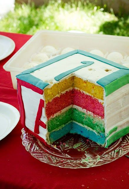 Building block birthday cake, perfect for your little one's first!