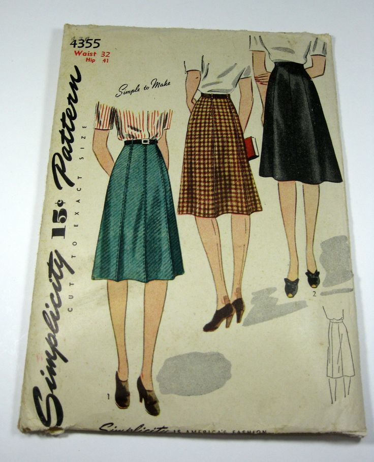 Vintage simplicity pattern 1940s womens skirts by grannysthimble