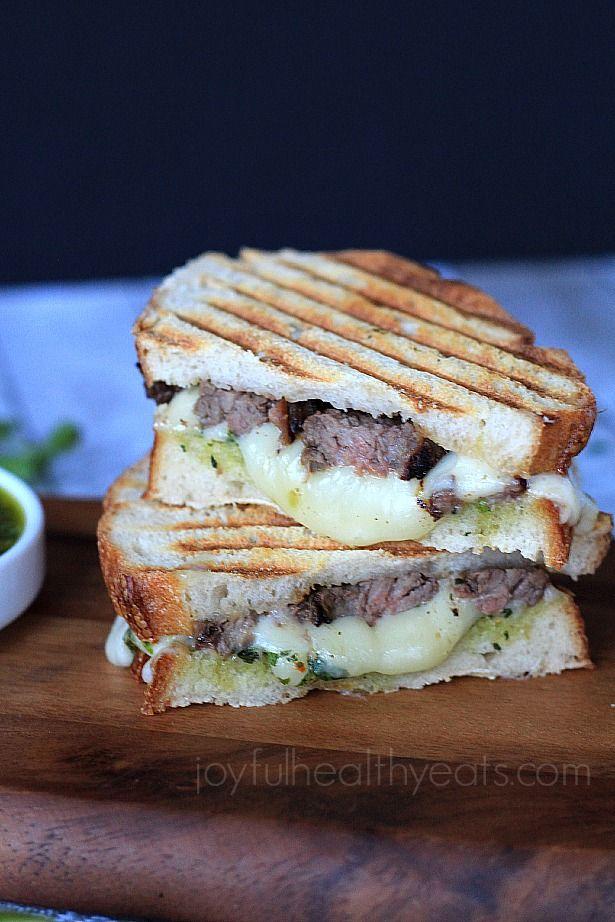 Steak & Fontina Cheese Panini with Chimichurri Sauce   Sandwich ...