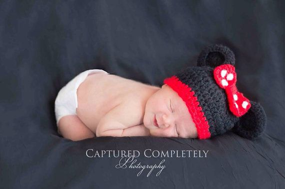 Crochet Minnie Mouse hat - Mickey Mouse  on Etsy, $25.00