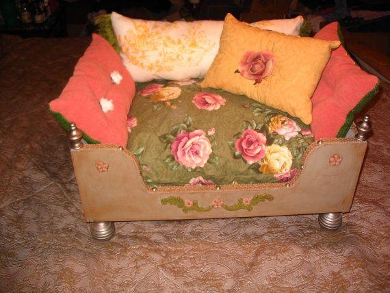 custom shabby chic vintage roses dog or cat bed solid wood. Black Bedroom Furniture Sets. Home Design Ideas