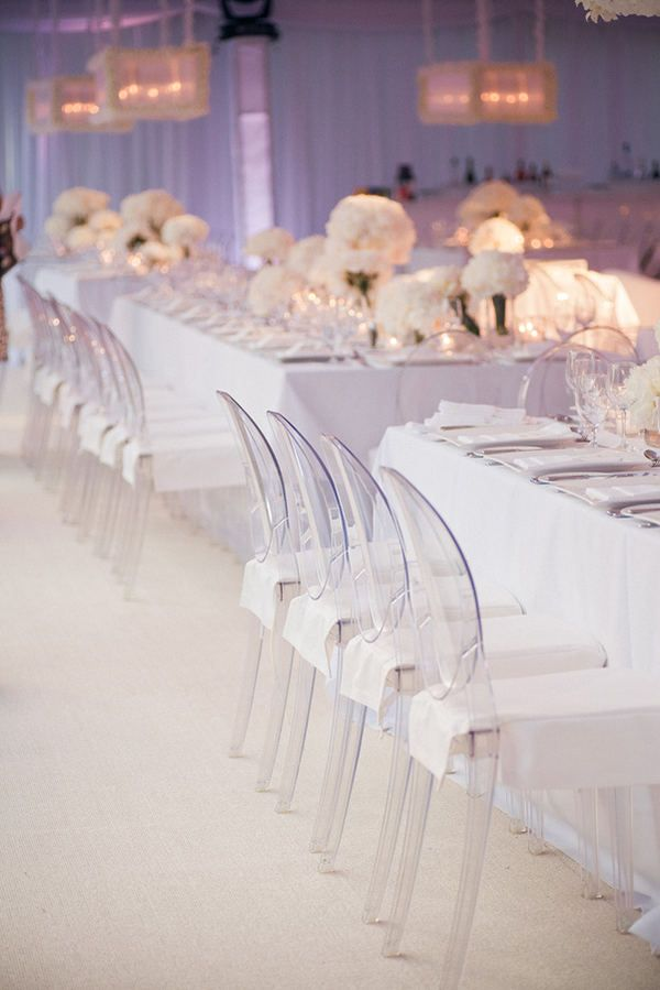 I love ghost chairs. This is pure gorgeousness. A white wedding is definitely something to consider.