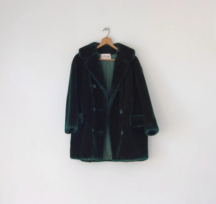 emerald green faux fur coat
