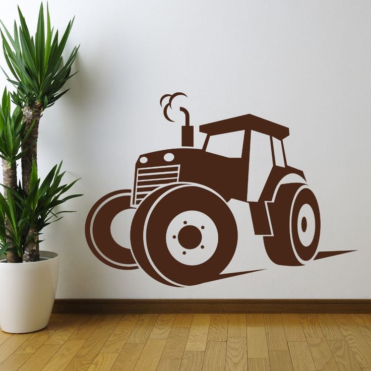 4898810ff4e1d746b6be418d55794171  silhouette machine silhouette cameo - Behang Tractor