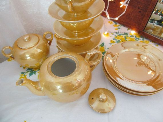 Oh So Adorable Vintage Tea Set : Vintage Gold Lusterware Tea Set with Plates Tea by PerfectPieLady