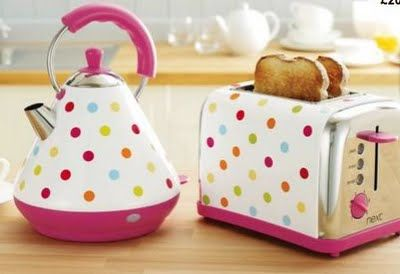 Polka Dot Toaster and Kettle