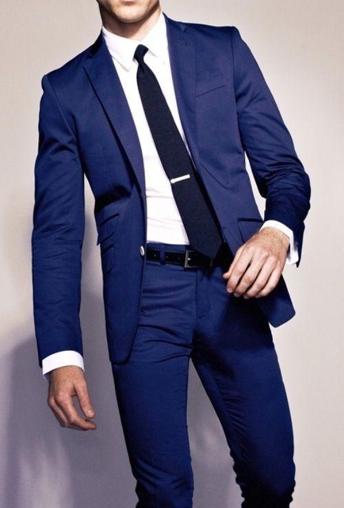 black suit and blue tie - photo #13