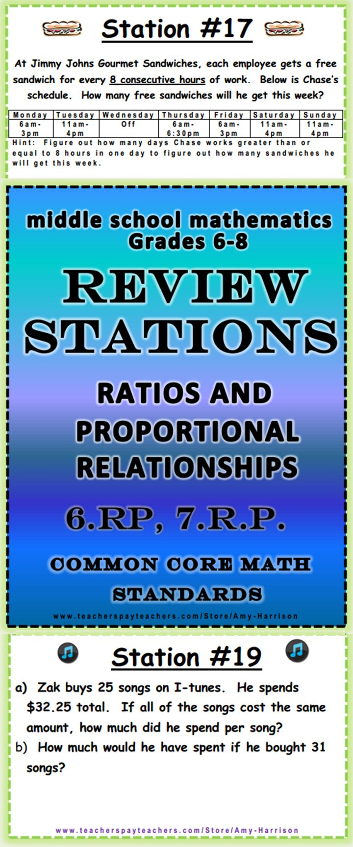 Middle School Math Stations Word Problems Common Core Math