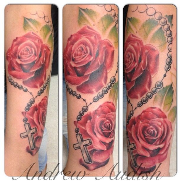 With Rosary  Rose Tattoo Inspirations Pinterest