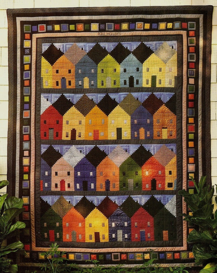 Row houses log cabin block vintage quilt pattern for House of patterns