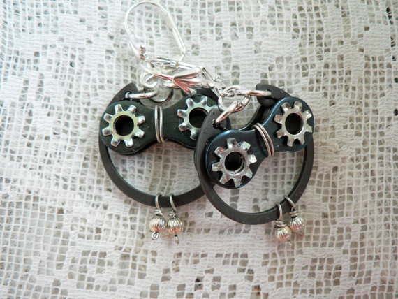 Silver & Black Steel Bicycle Chain Hardware Owl Earrings by Dove and