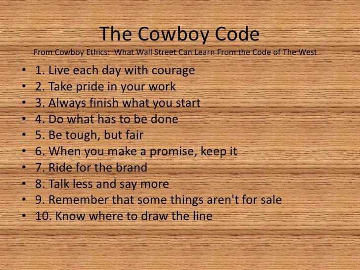 The Cowboy Code Food For Thought Pinterest