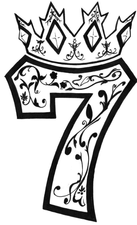 Эскиз тату цифры 7