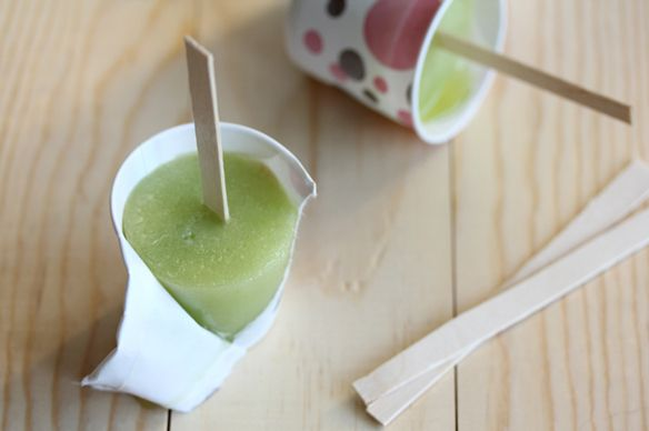 Honeydew Lime Popsicles 1/4 cup sugar 1/4 cup water 1 ripe honeydew ...